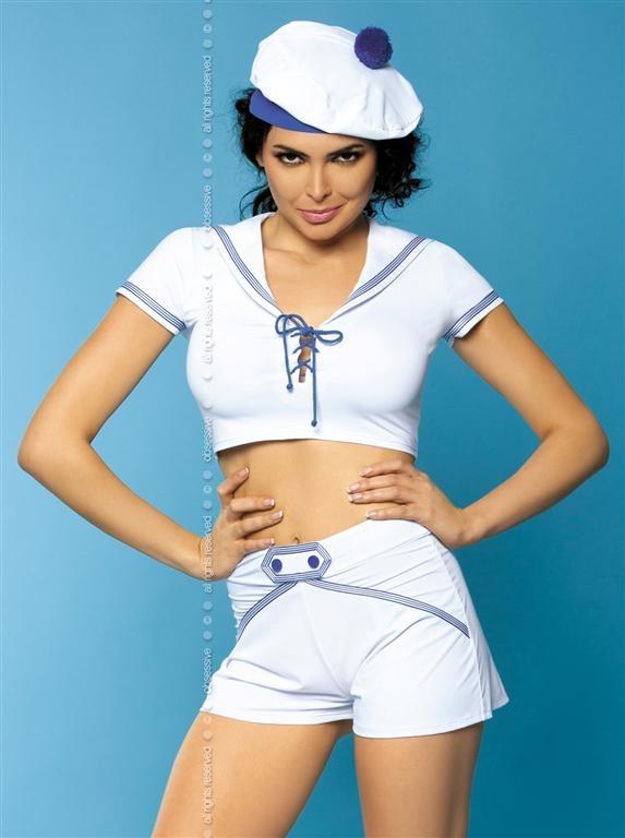 Sexy kostým Marine - Obsessive Barva: bílá, Velikost: S/M