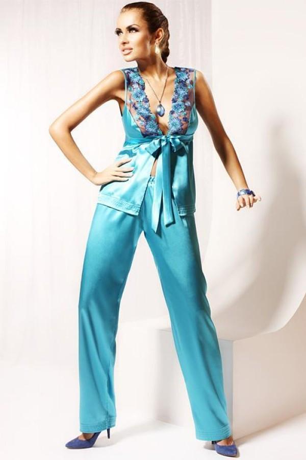 Dámské saténové pyžamo M702 - Miran Barva: mořská, Velikost: L