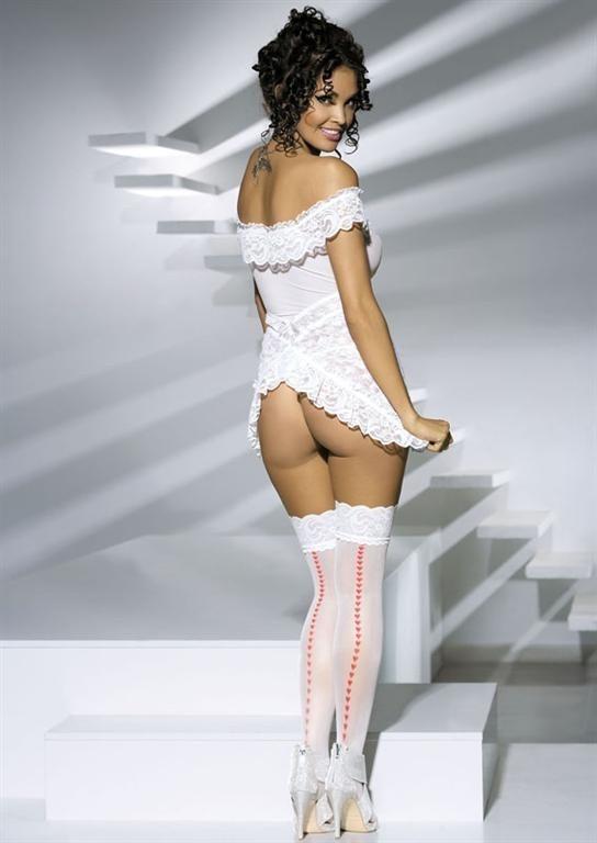 Punčochy Heartdrops stockings - Obsessive Barva: bílá, Velikost: S/M