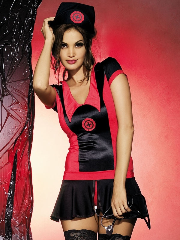 Sexy kostým Naughty nurse dress - Obsessive Barva: černá/červená, Velikost: S/M