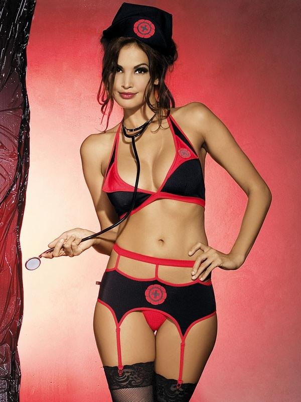 Sexy kostým Naughty nurse set - Obsessive Barva: černá/červená, Velikost: S/M
