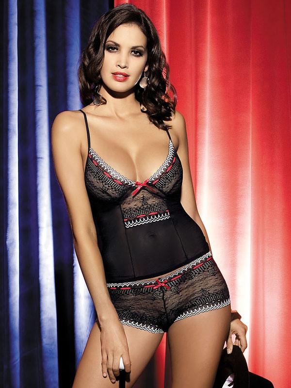 Souprava Showgirl top + shorts - Obsessive Barva: černá, Velikost: S/M