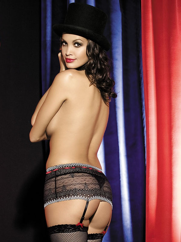 Podvazkový pás Showgirl garter belt - Obsessive Barva: černá, Velikost: S/M