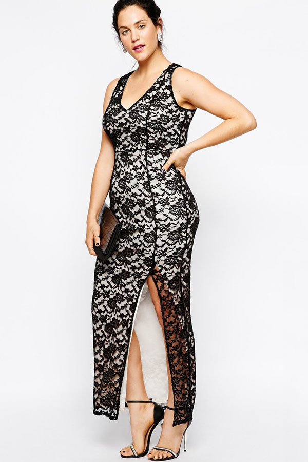 Společenské šaty pro plnoštíhlé krajkové - LC6931 - dlouhé - Černé XL