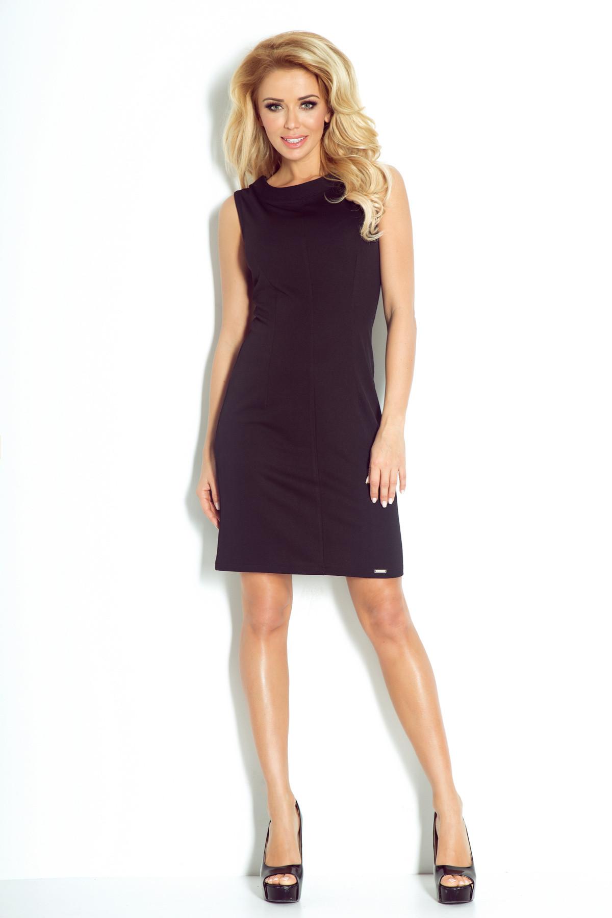 Dámské společenské šaty značkové vypasované bez rukávu krátké SAF-91-1 černá XL