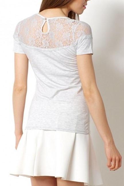 Dámské tričko s krajkou - SS-0040 - Světle šedé S/M