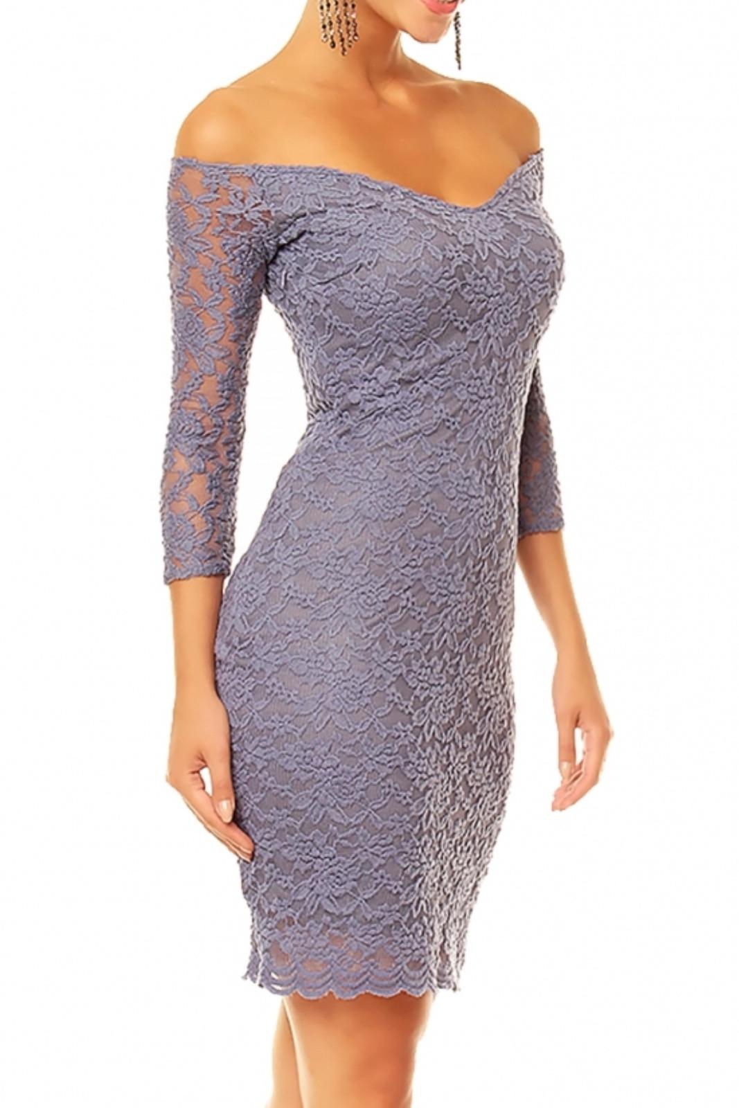 Dámské společenské šaty MAYAADI krajkové s 3/4 rukávem krátké HS-338 tmavě šedá XL