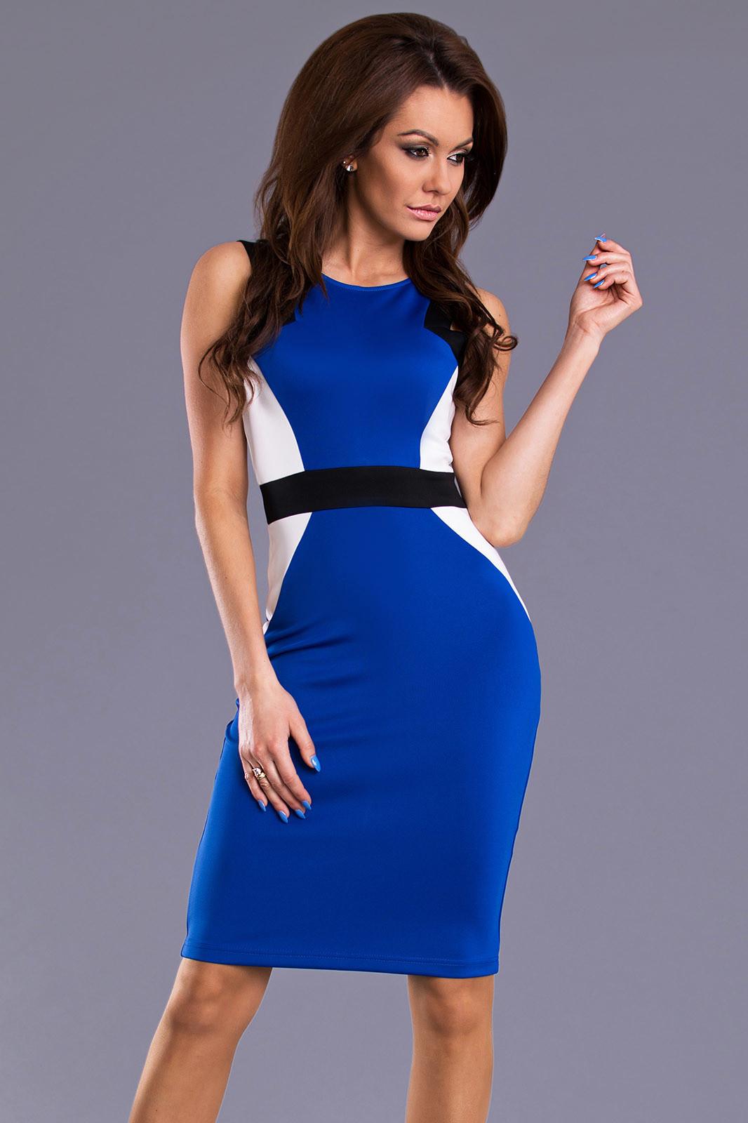Dámské značkové společenské a párty šaty EMAMODA středně dlouhé modrá L