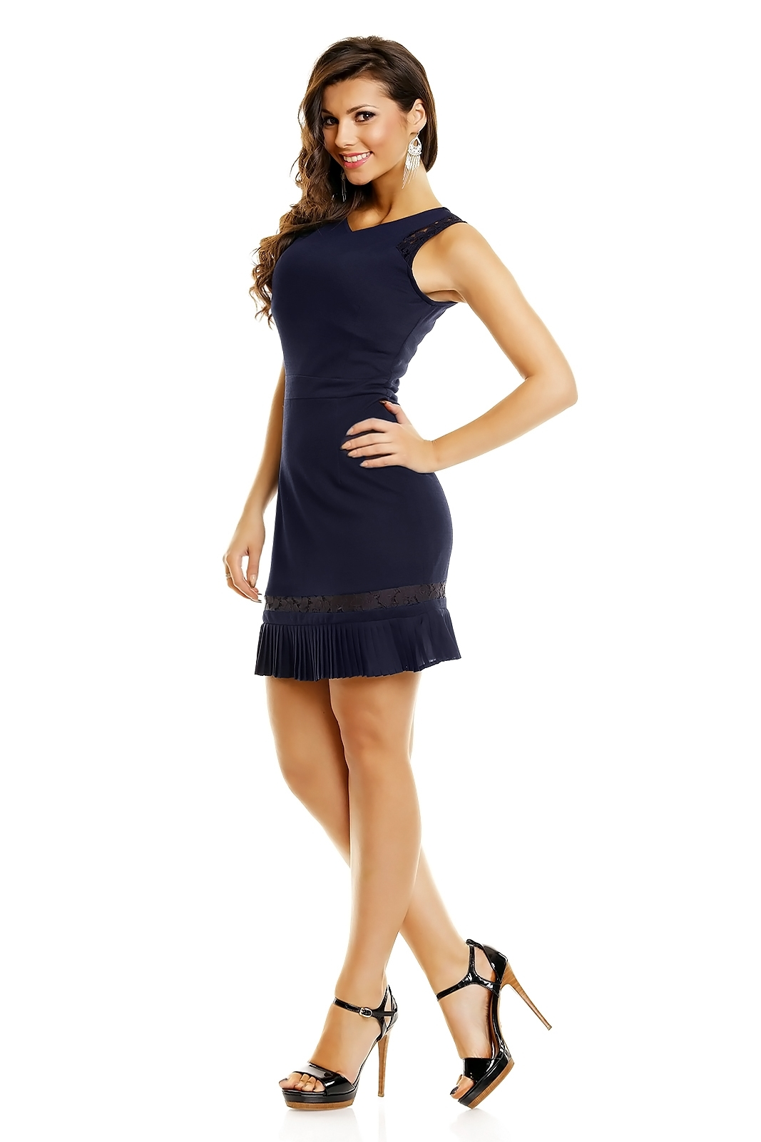 Společenské šaty zdobené krajkou se skládanou sukénkou krátké HS-1227-DB tm.modrá L