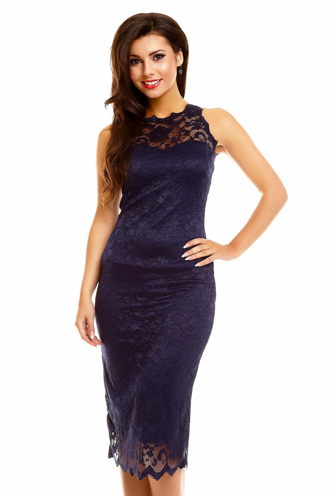 Společenské šaty krajkové 261_DB - Tmavě modré XL