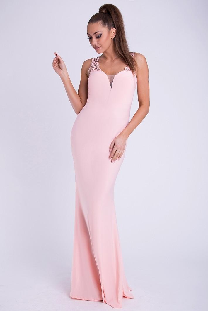Dámské značkové luxusní dlouhé plesové šaty EVA & LOLA lososová M