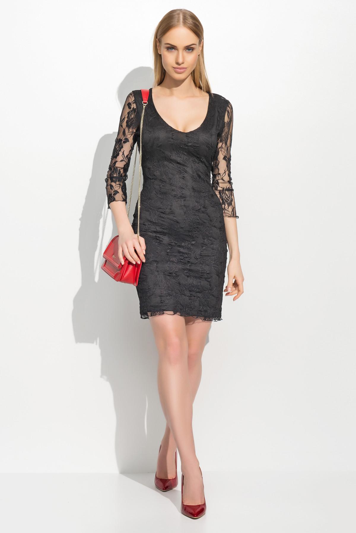 Dámské společenské šaty krajkové s 3/4 rukávem krátké černé černá 36