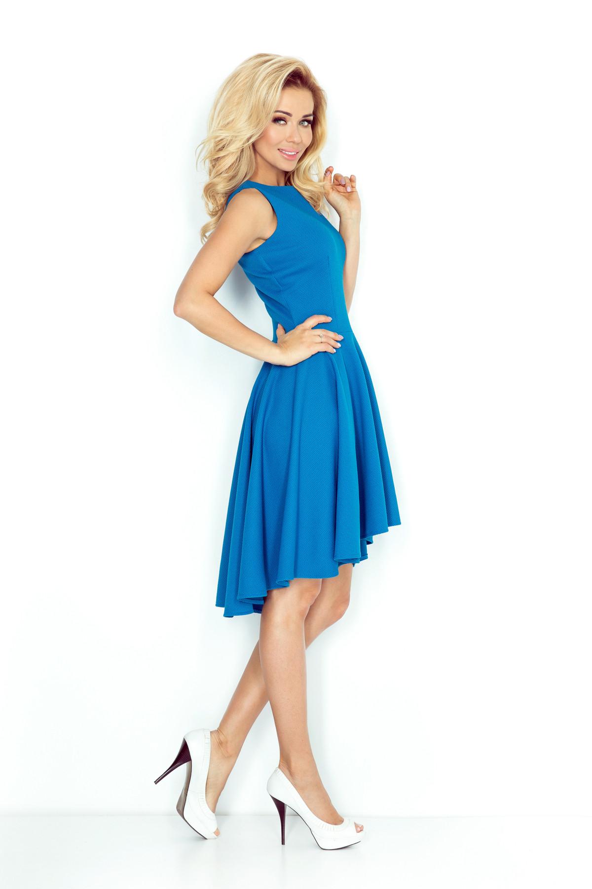 Dámské šaty 66-14 s asymetrickou sukní - Modré S