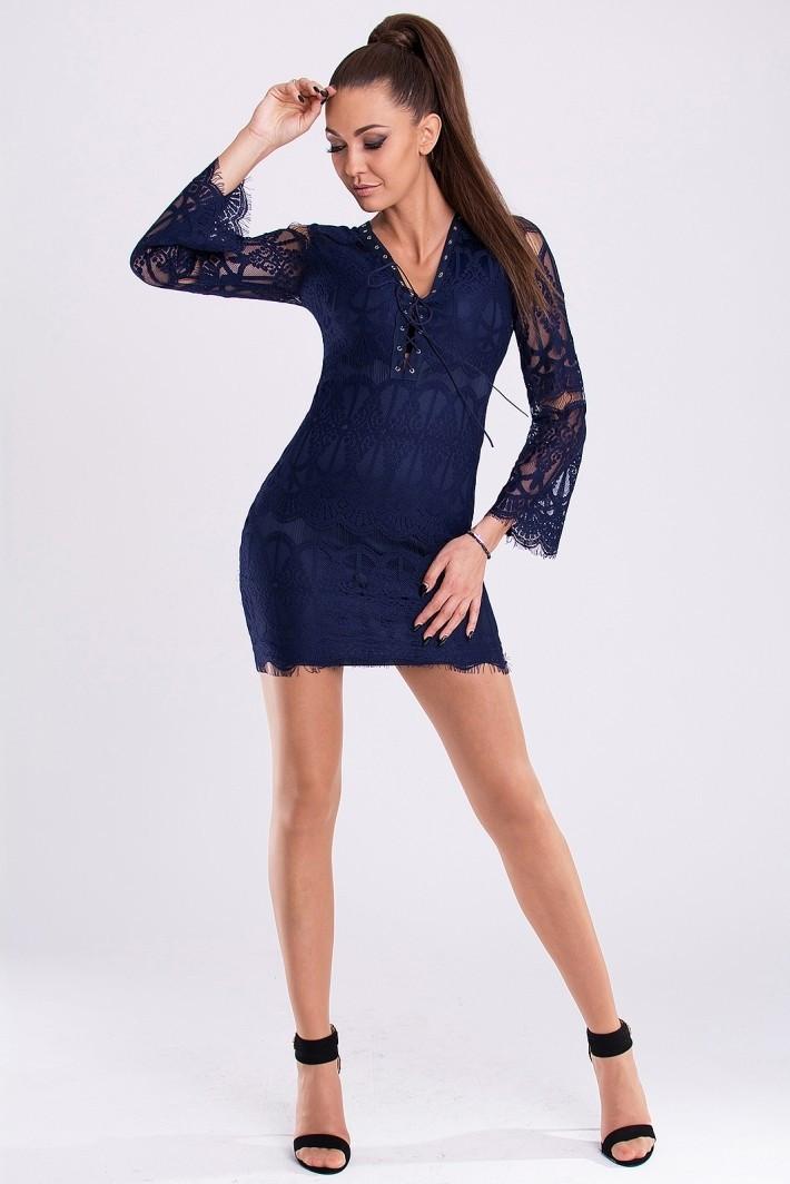 Dámské společenské šaty krajkové s dlouhým rukávem tmavě modrá S