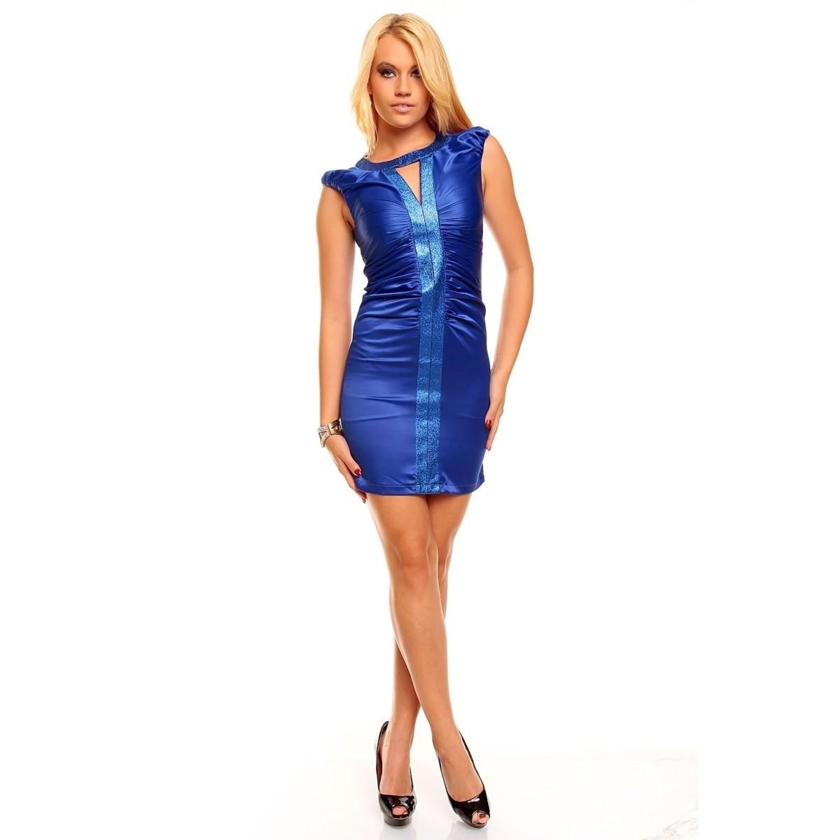 Dámské párty a společenské šaty HS-2166 - Modré XS