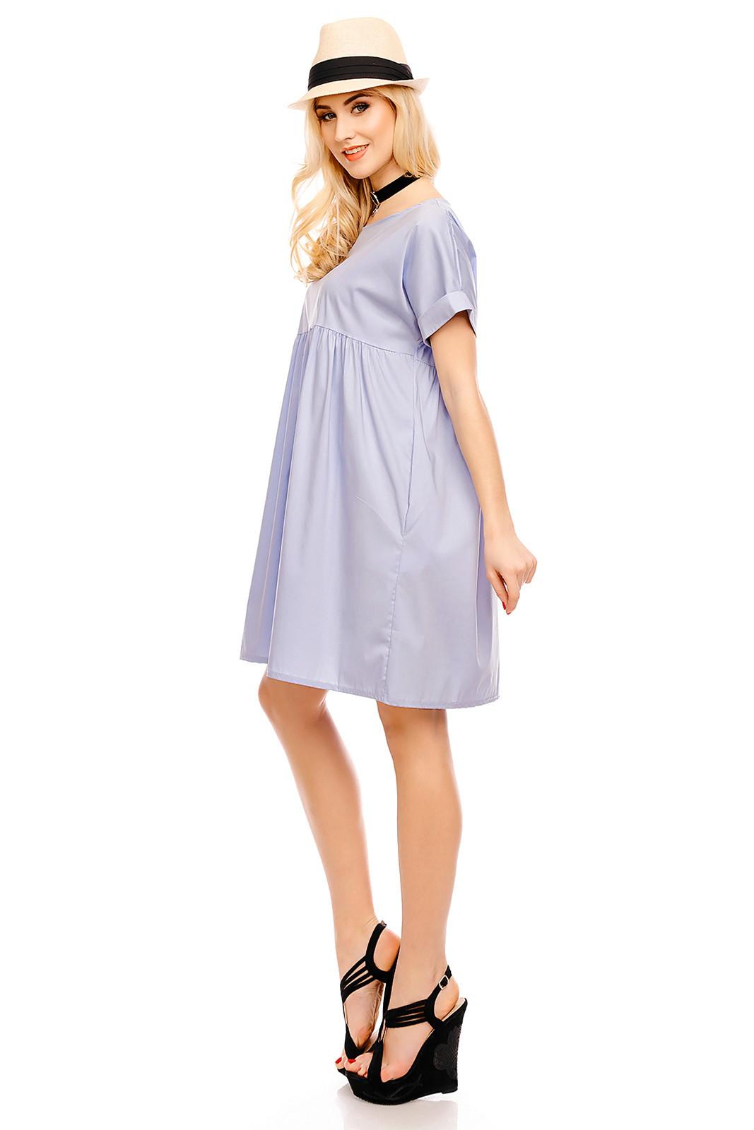 Dámské šaty volného střihu středně dlouhé - Světle modrá Uni