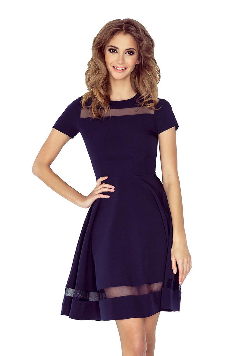 Dámské šaty s rukávy a sukní dlouhé - Tmavě modré XXL
