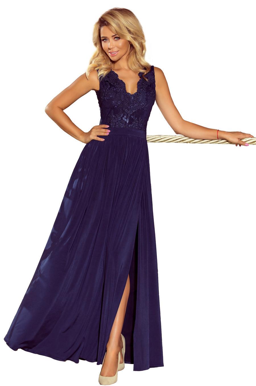 Společenské dámské šaty bez rukávů krajkové dlouhé - Tmavě modré XL