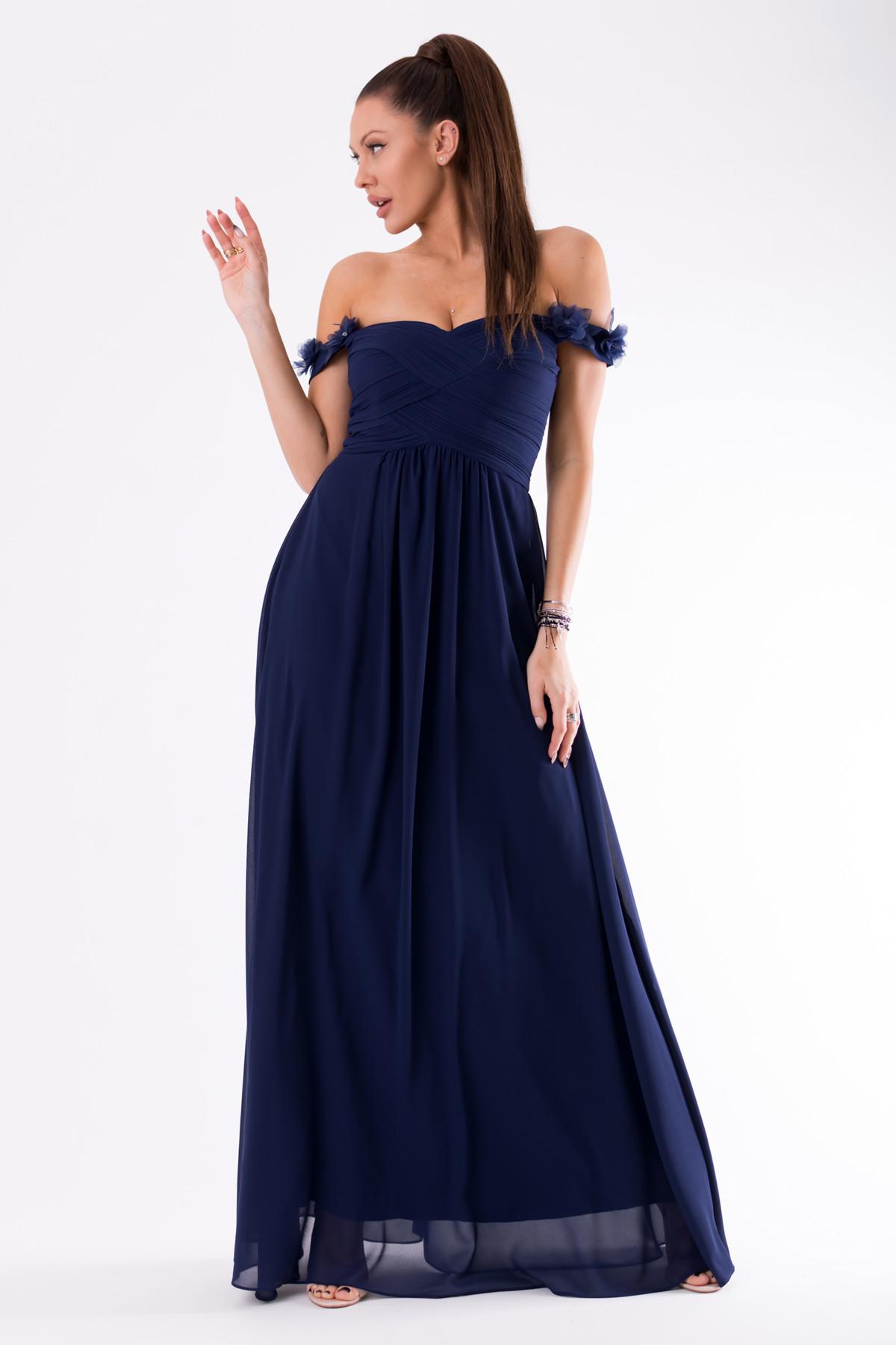 Dámské plesové šaty EVA & LOLA se spadlými rukávky dlouhé - Tmavě modré L
