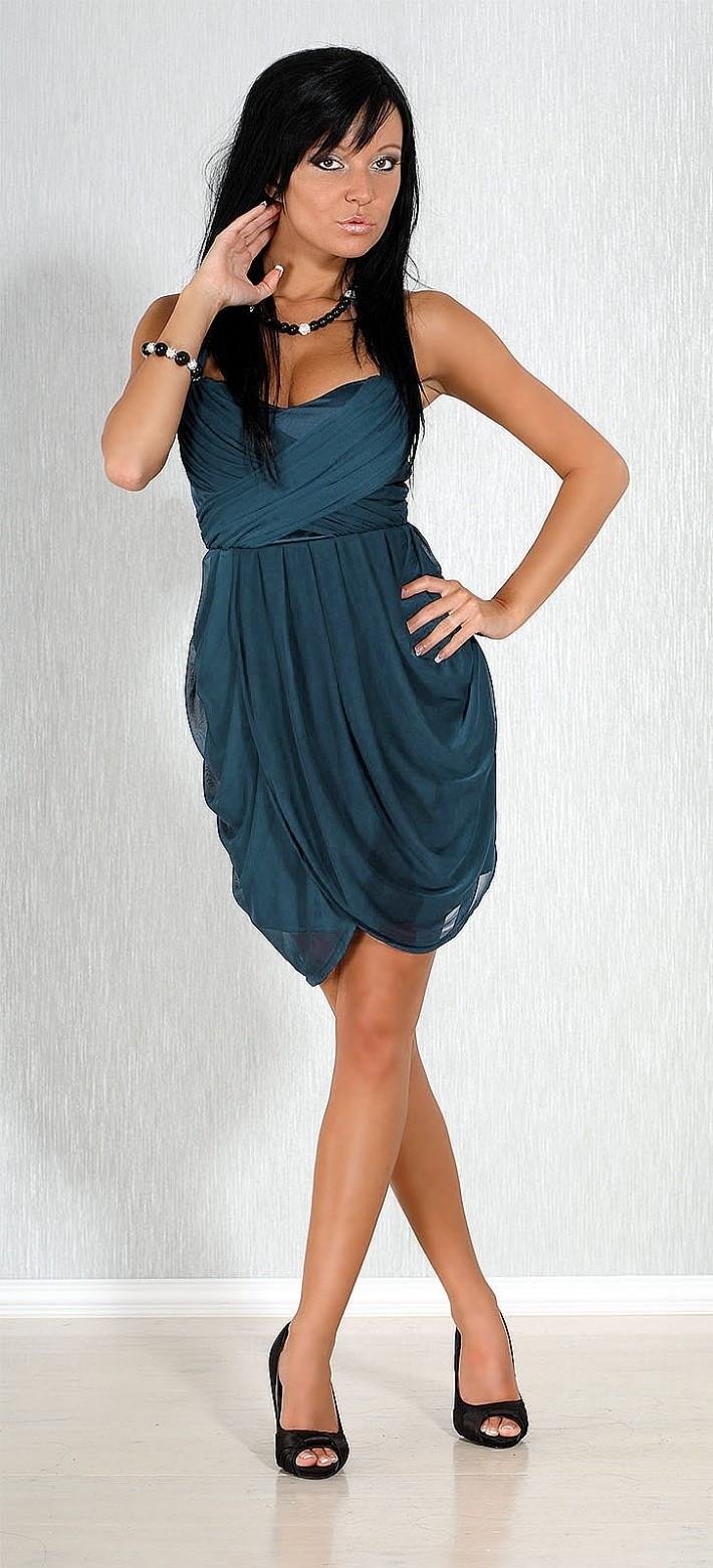 Společenské a plesové šaty FIONELLA středně dlouhé modré modrá L