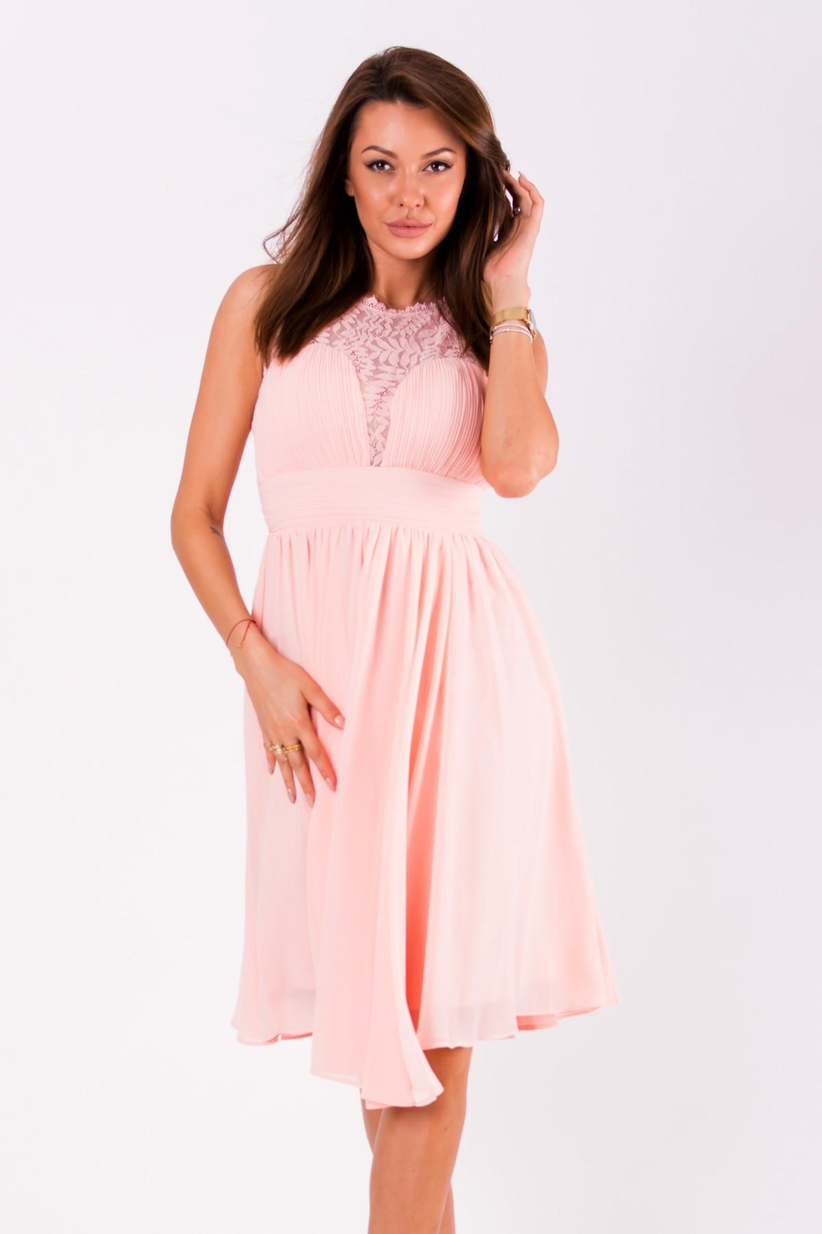Dámské společenské šaty EVA&LOLA středně dlouhé - Růžové S