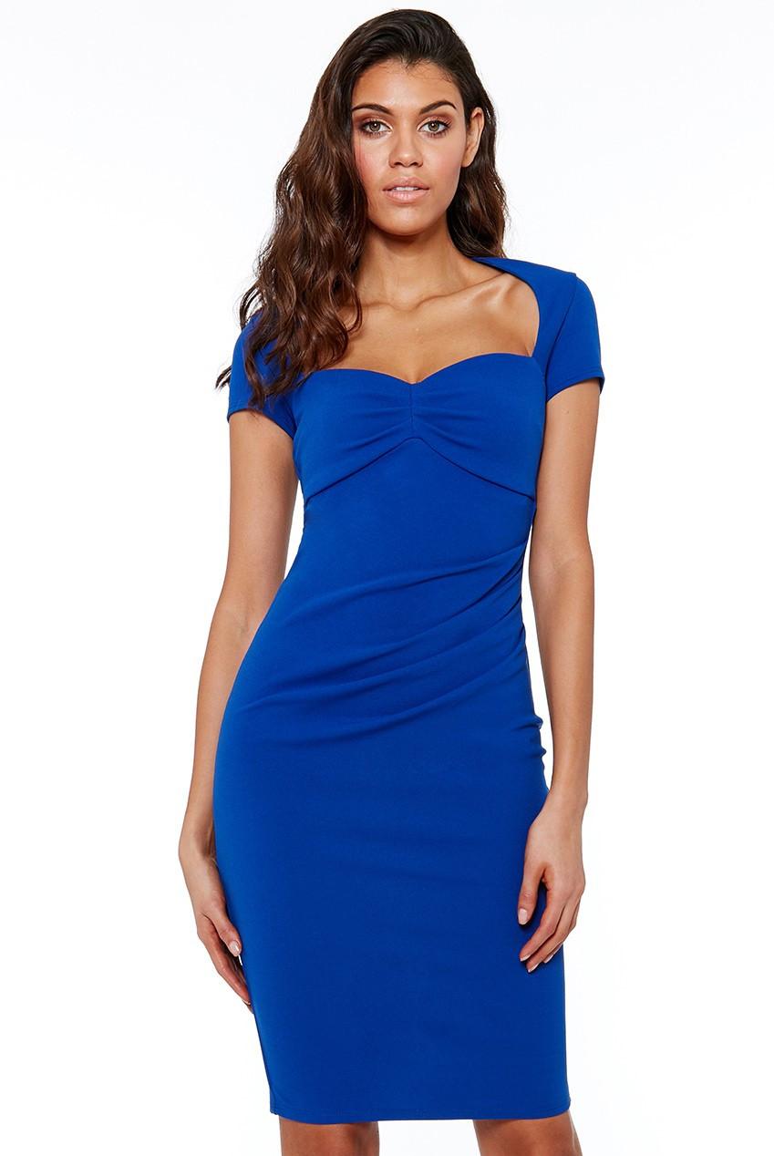 Středně dlouhé šaty s krátkým rukávem a výstřihem - Modré S