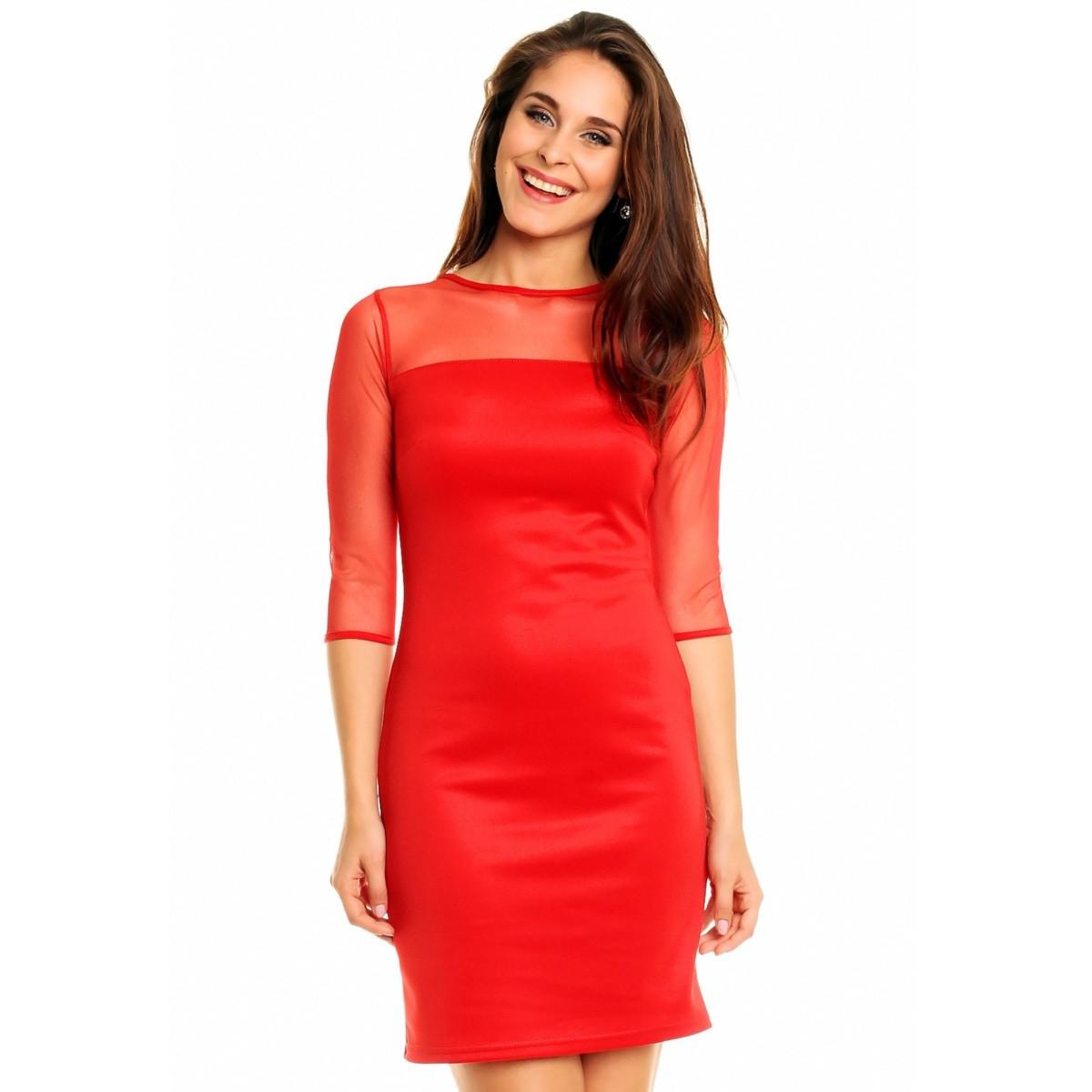 Společenské a párty šaty MAYAADI s šifonovým živutkem a rukávy červená S