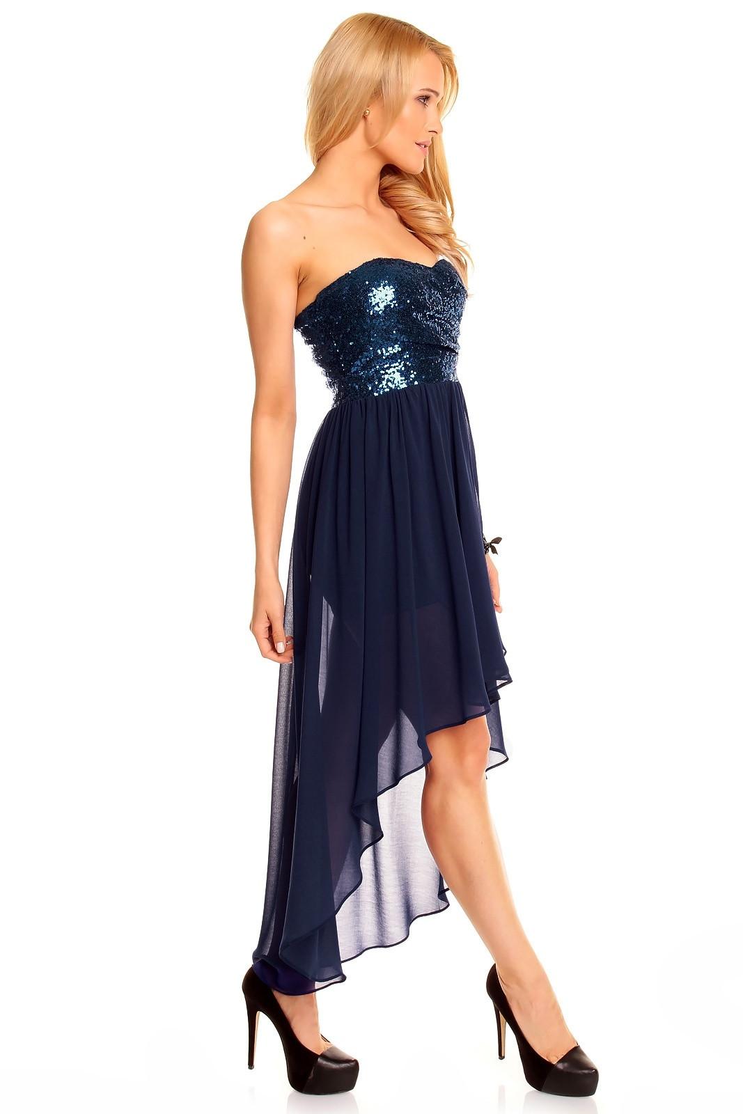 Dámské společenské šaty MAYAADI - HS-297_DARKBLUE - s asymetrickou sukní - Tm. modré L