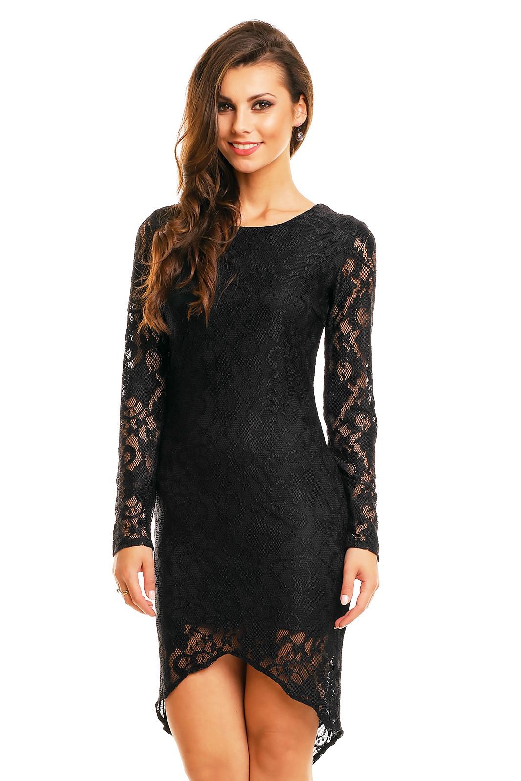 Společenské šaty značkové MAYAADI krajkové s asymetrickou sukní černá S