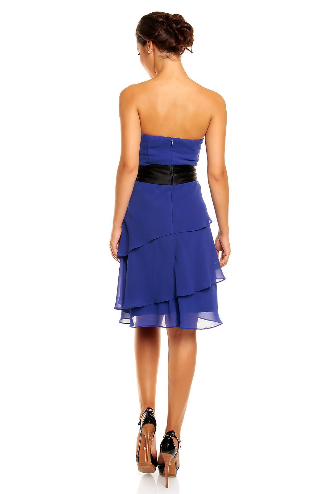 Společenské šaty MAYAADI - HS-345_BL- s mašlí a sukní s volány - Modré S