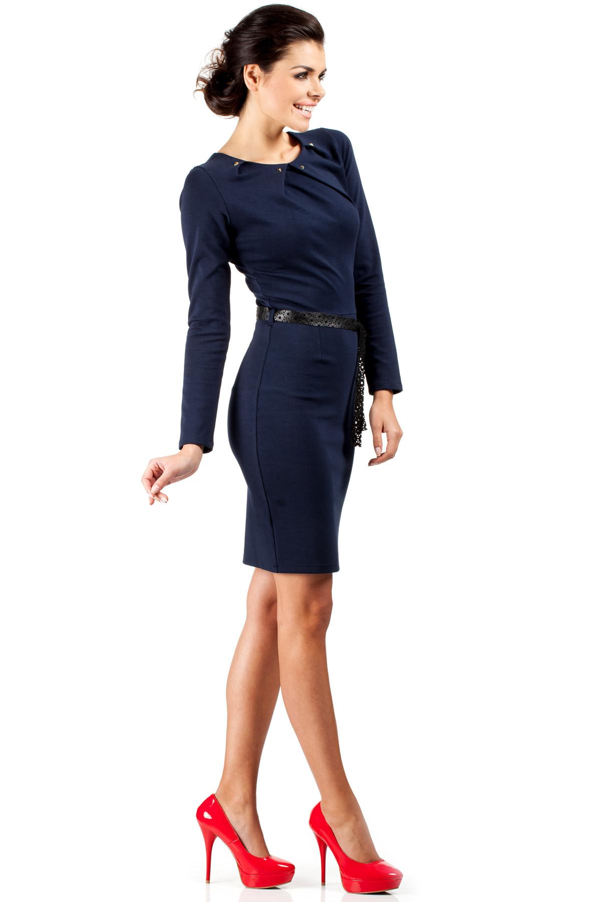 Dámské společenské šaty mo-043 s páskem - Tmavě modré 40