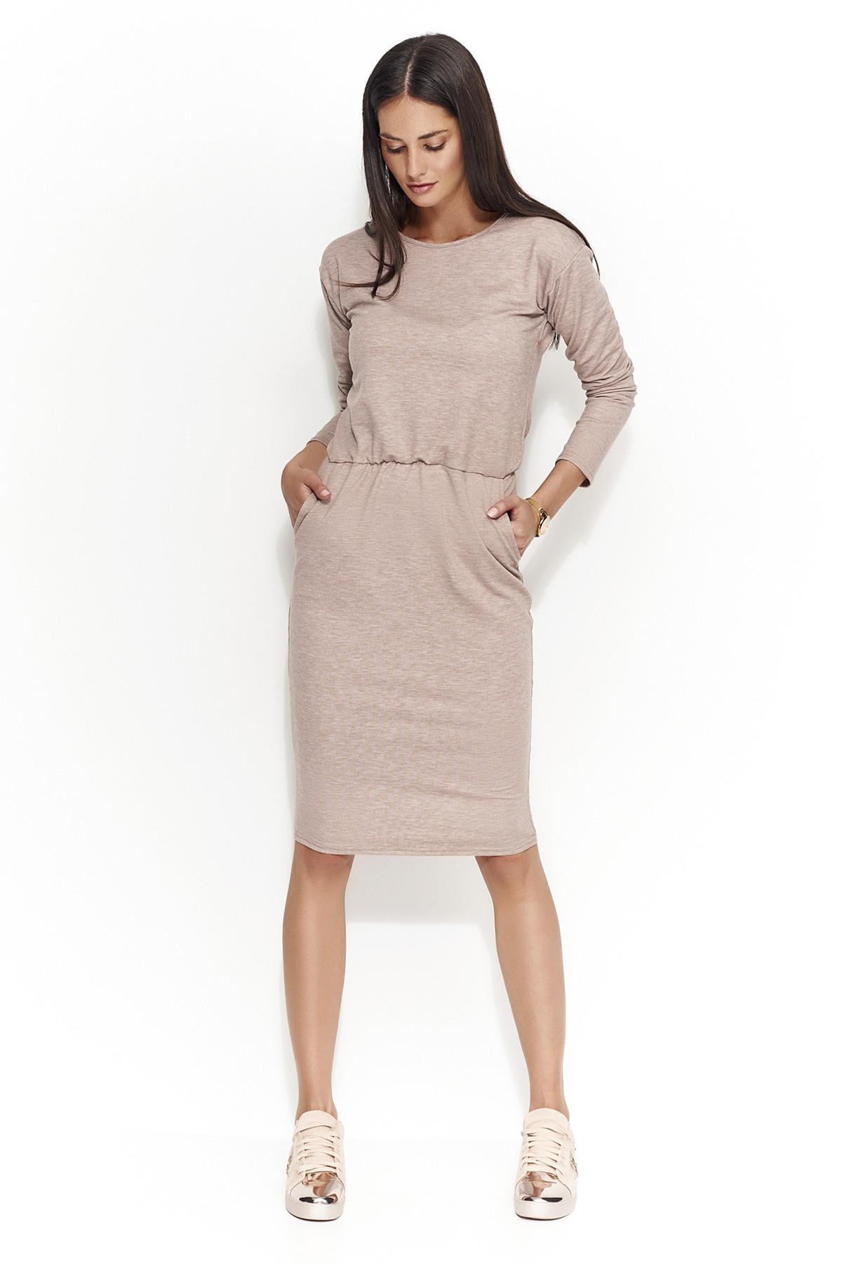 Dámské šaty s volným střihem středně dlouhé cappucino hnědá 42