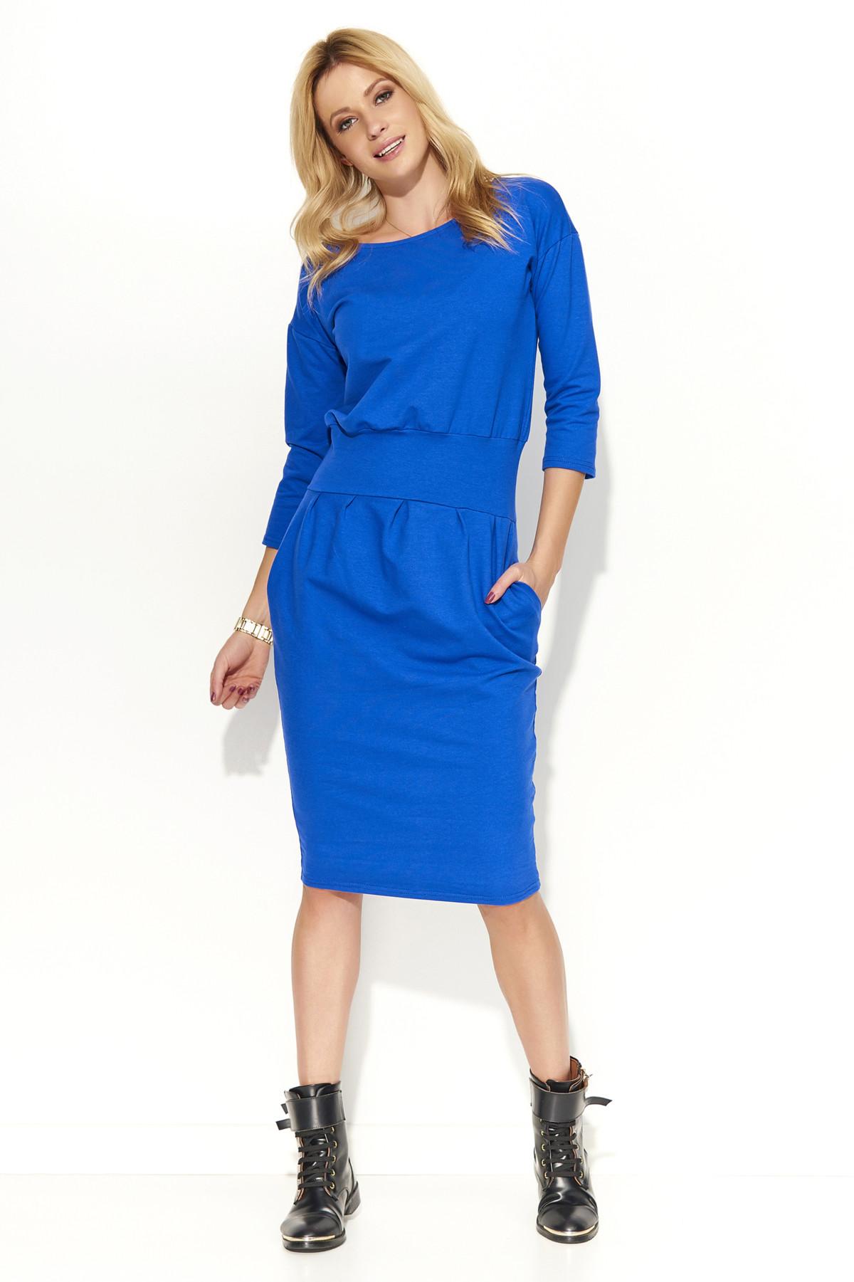 Dámské šaty s volným střihem středně dlouhé - Modrá 42