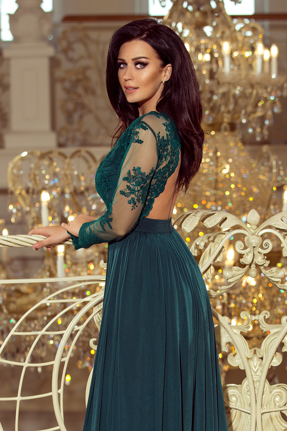 Dámské šaty- 213-1- dlouhé - Smaragdové M