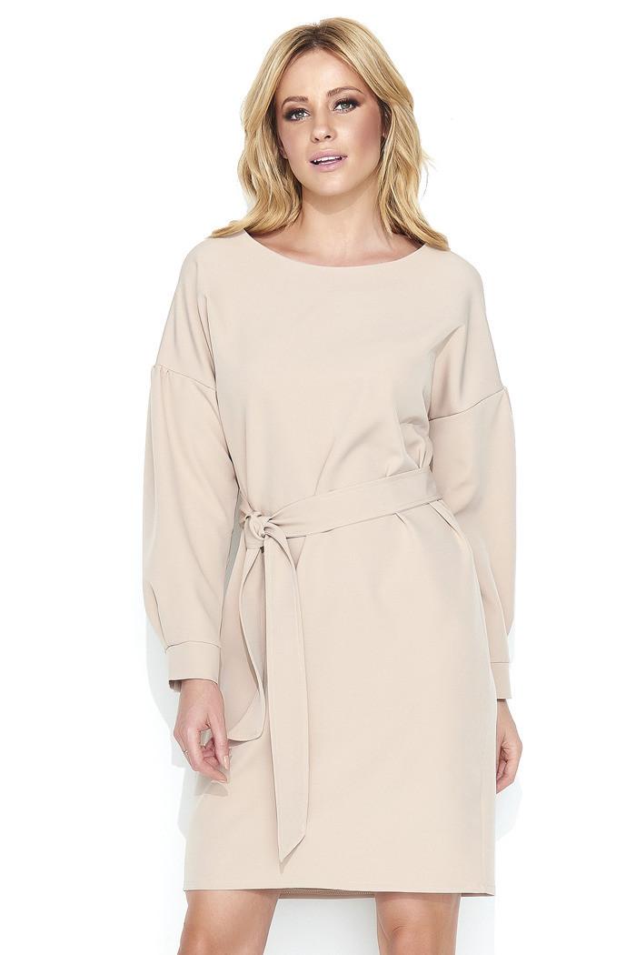 Dámské elegantní šaty s páskem středně dlouhé béžová 36