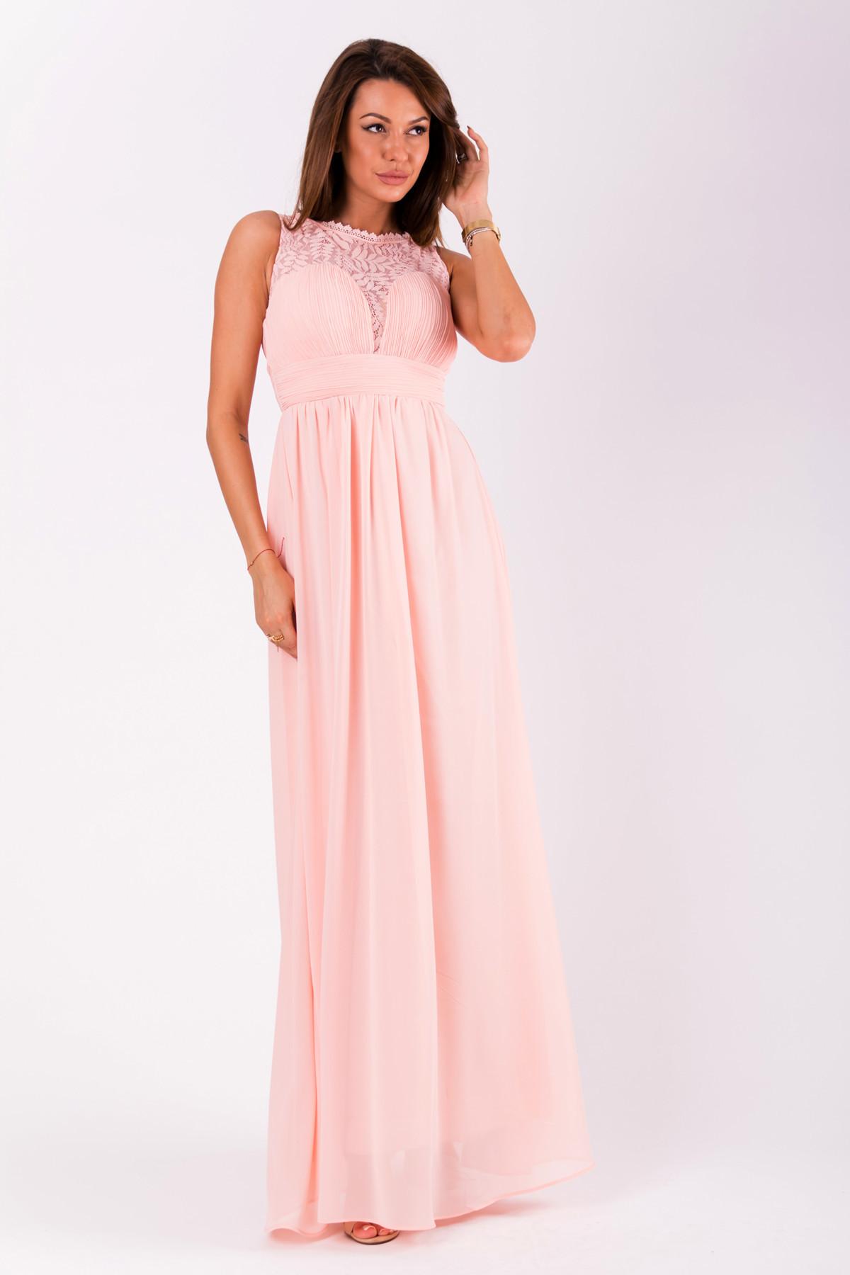 Společenské dámské šaty EVA&LOLA bez rukávů dlouhé - Růžové L