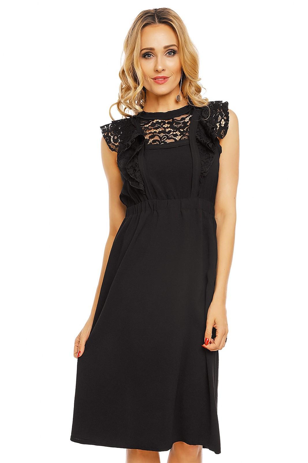 Dámské šaty středně dlouhé s krajkovým rukávem černá M/L