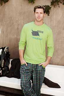 Pánské pyžamo 58218 - Jockey zeleno-hnědá XXL
