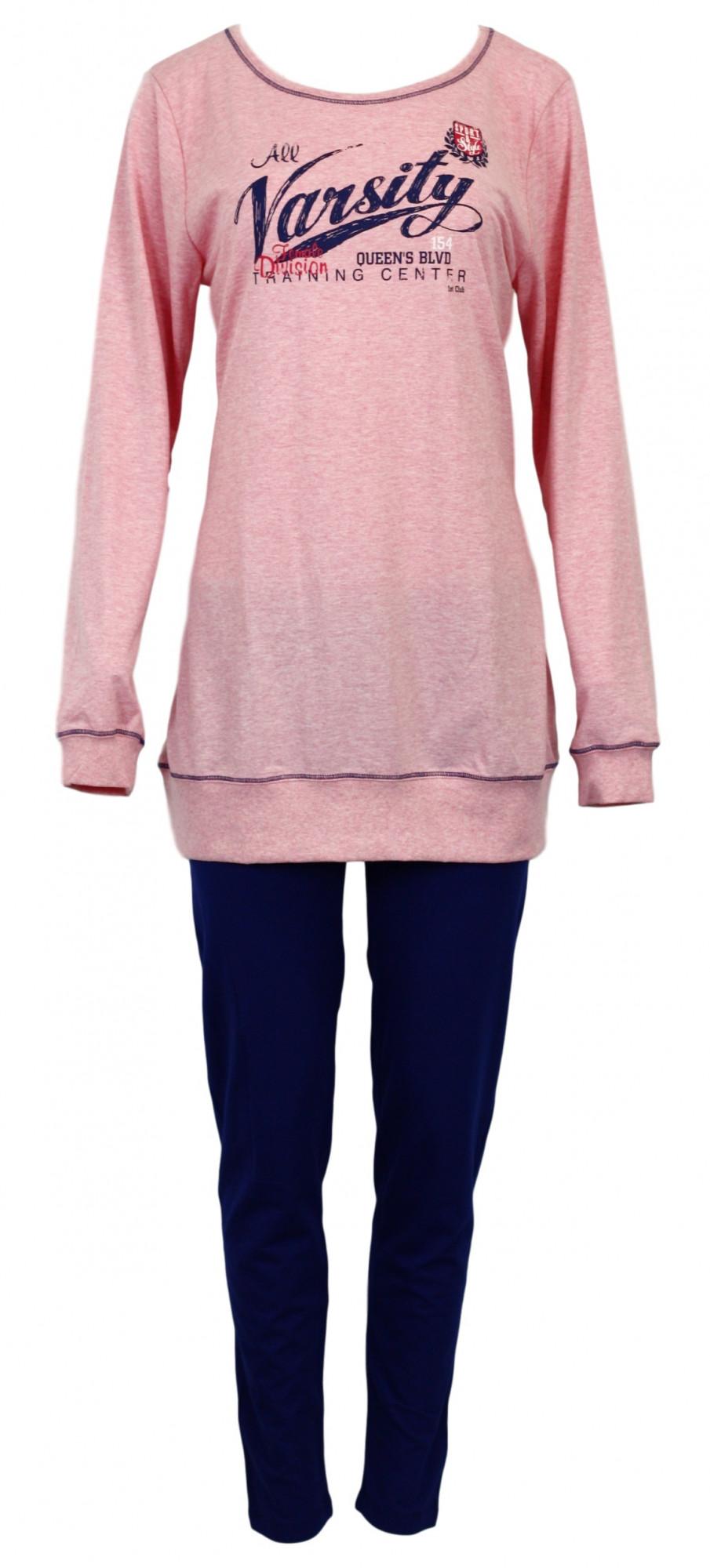 Dámské pyžamo 3094-Vienetta Barva: růžová - modrá, Velikost: L