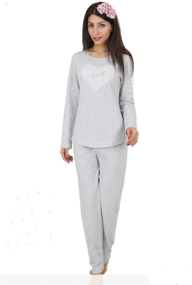 Dámské pyžamo 4384-Vienetta Barva: šedo-bílá, Velikost: XL