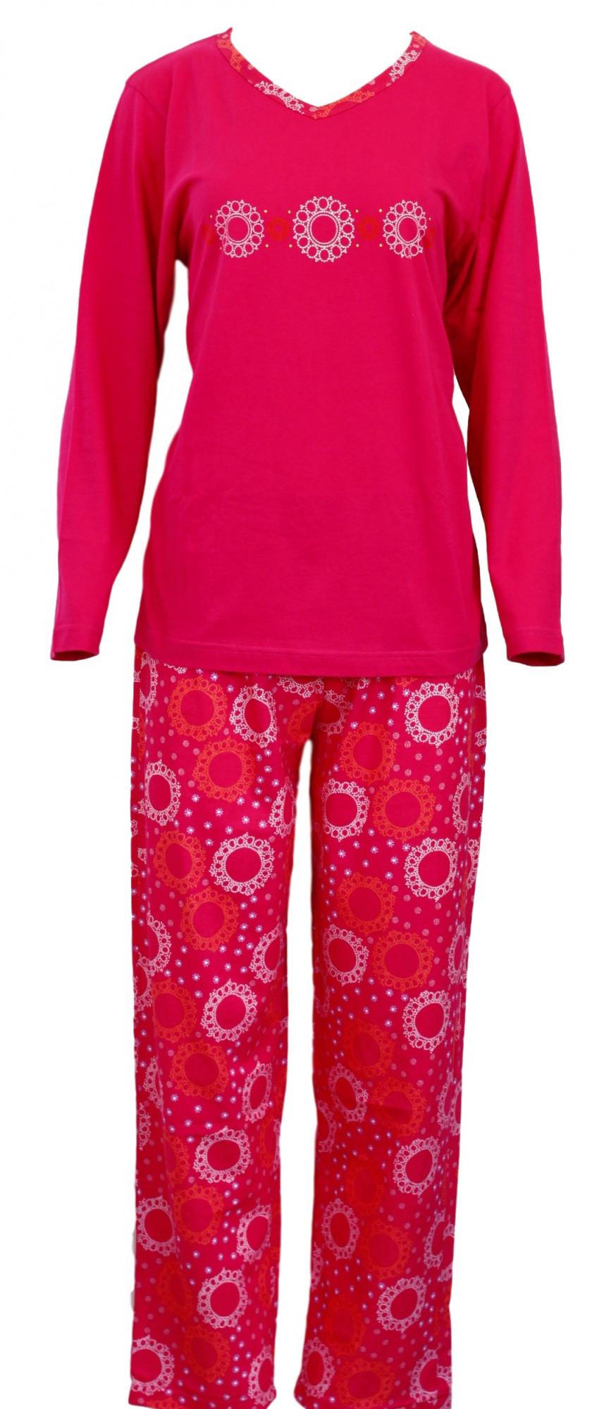 Dámské pyžamo 636-Luna Barva: tmavě růžová, Velikost: XL