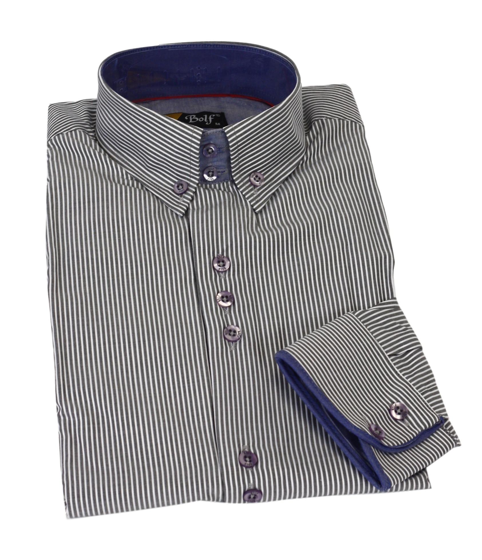 Pánská košile 2014789 - Bolf Barva: modro-bílá, Velikost: M
