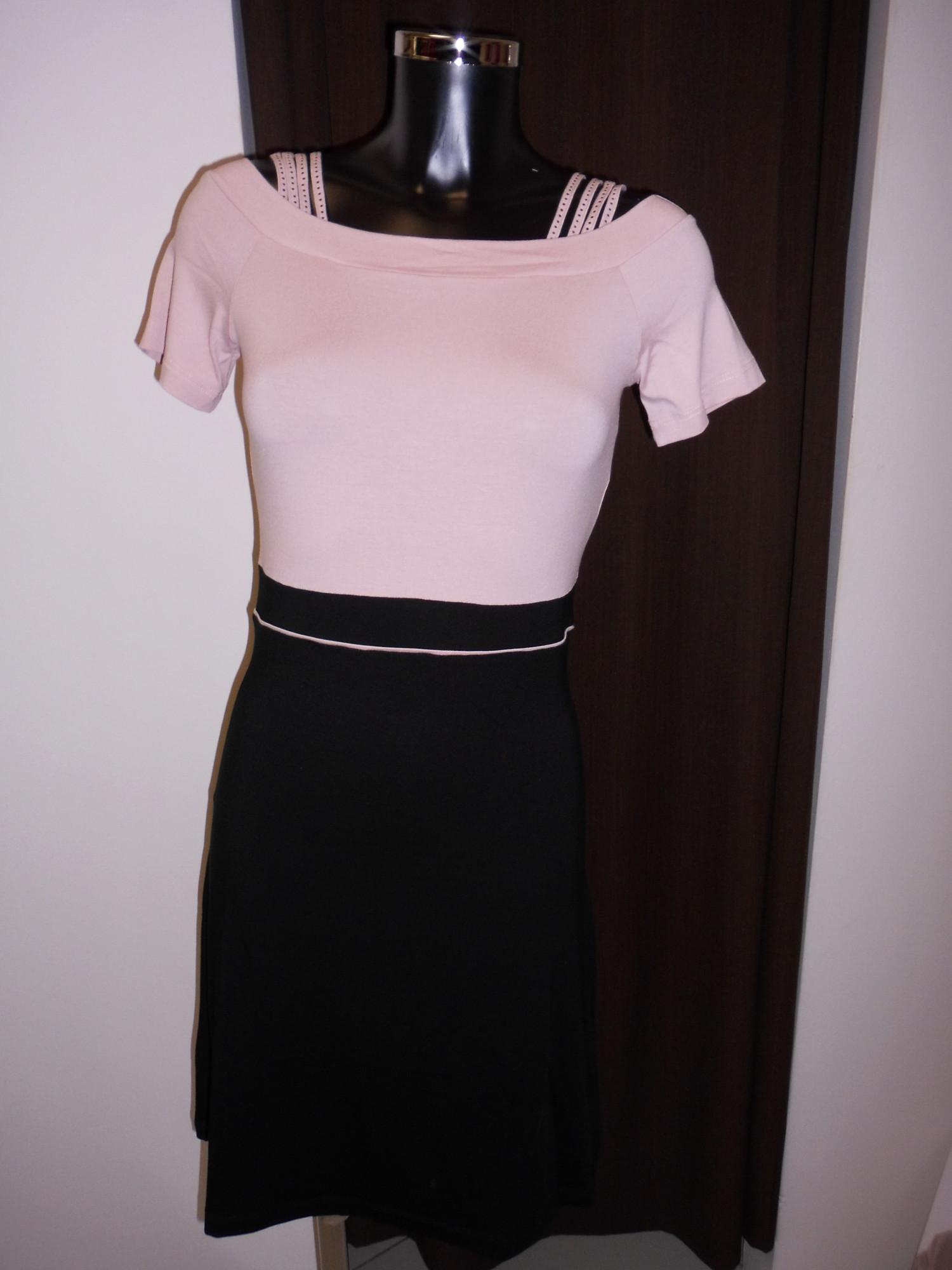 Dámské šaty Alania šat KR 0532J SW - Favab Barva: černo-růžová, Velikost: L