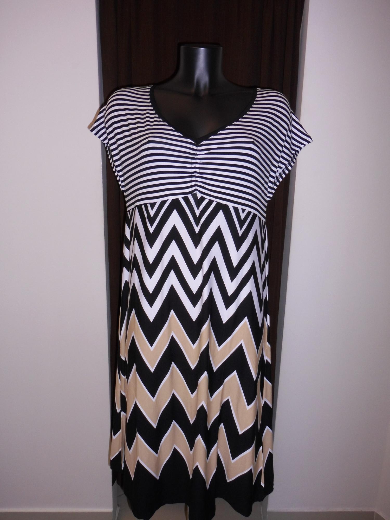 Šaty 4623 - Vamp bílá, černá, béžová- pruhy XS