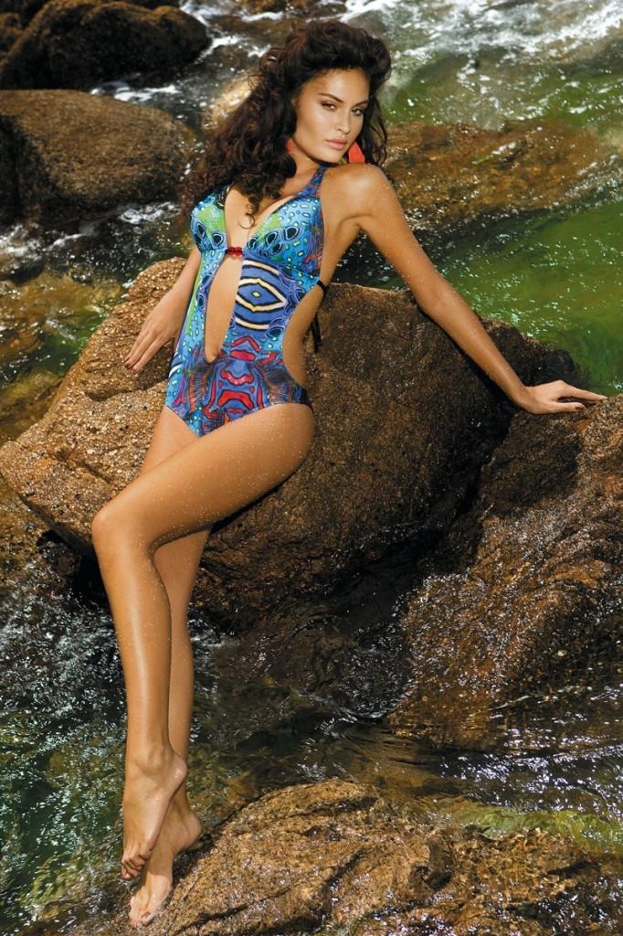 Dámske plavky Ashley 8114/4 monokiny Barva: original, Velikost: 42