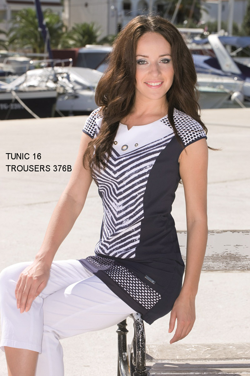 Dámská tunika 16 - Gonera Barva: bílo-modrá, Velikost: 42