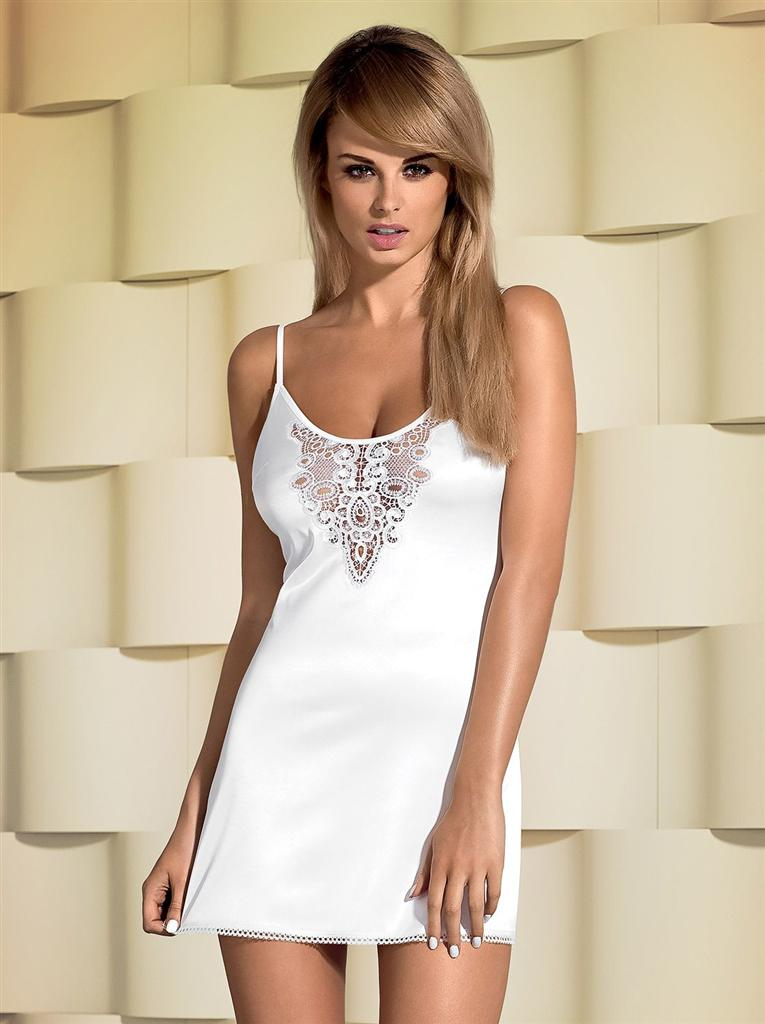 Košilka Lelia chemise - Obsessive Barva: bílá, Velikost: S/M