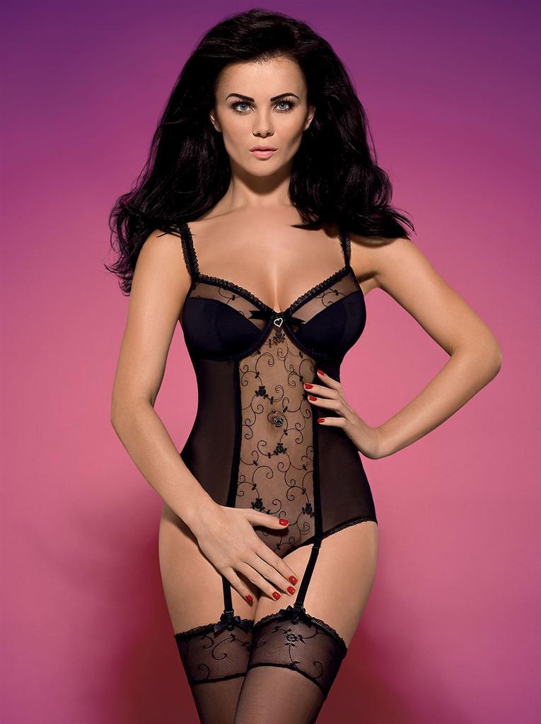 Body Rosana teddy XXL - Obsessive Barva: černá, Velikost: XXL