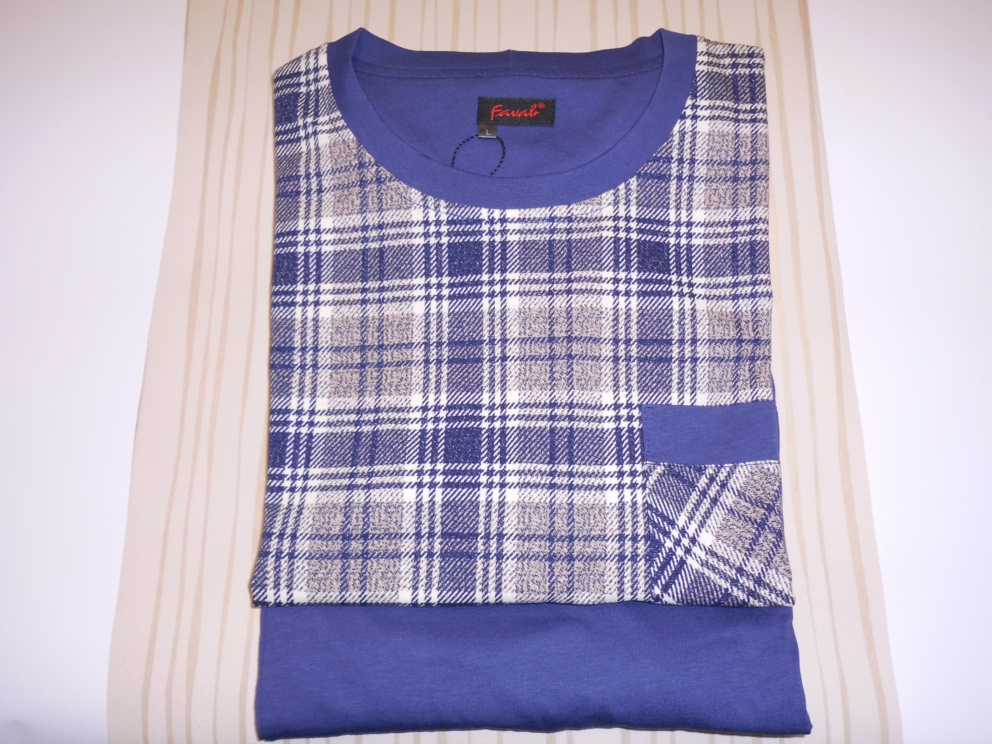 Pánské pyžamo Karono G DR/M - Favab Barva: tmavě modrá kostka, Velikost: M