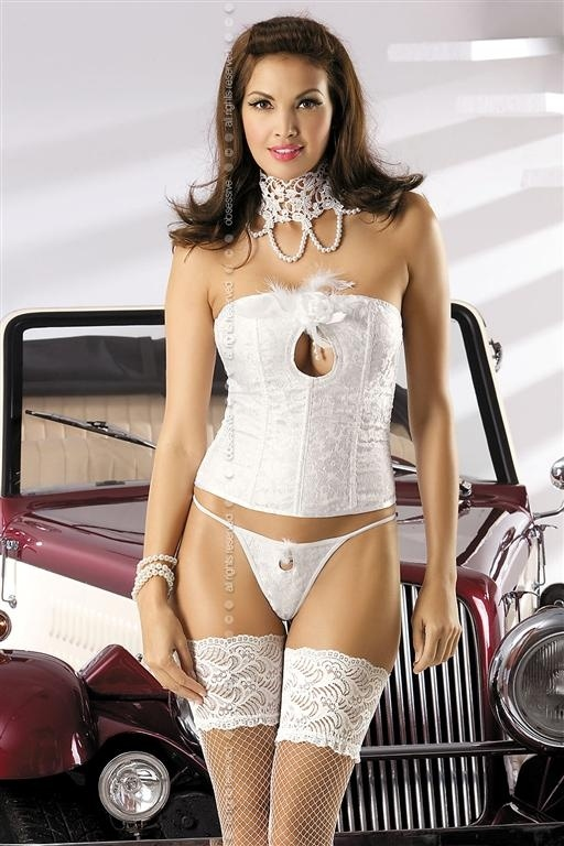Korzet Mylove corset - Obsessive Barva: bílá, Velikost: S/M